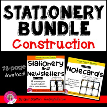 EDITABLE Stationery, Newsletters, & Note Card BUNDLE (Cons