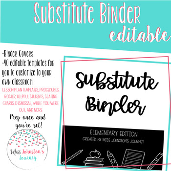 EDITABLE Substitute Binder: Elementary Edition