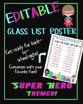EDITABLE Super Hero Class List Poster