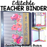 EDITABLE Teacher Binder 2016-2017 {Watercolor Stripes}