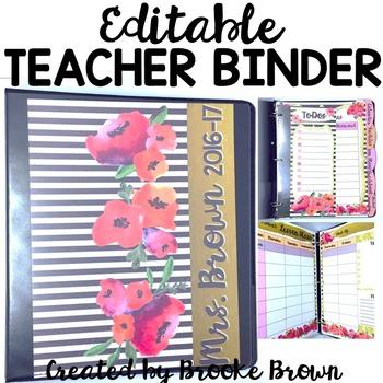 EDITABLE Teacher Binder 2017-2018 {Watercolor Stripes}