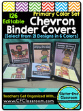 EDITABLE Teacher Binder Covers CHEVRON PRIMARY COLORS Clas
