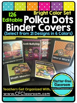 EDITABLE Teacher Binder Covers POLKA DOTS BRIGHT COLORS Cl