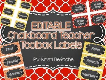 EDITABLE Teacher Toolbox Labels- Yellow, Red, Orange