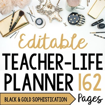 Teacher/Life Planner for UPPER Grades: Black & Gold Sophis