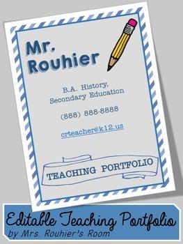 EDITABLE Teaching Portfolio Template (blue stripes)