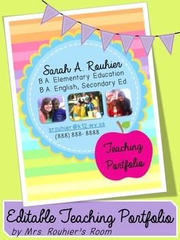 EDITABLE Teaching Portfolio Template (multicolor)
