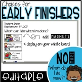 Early Finisher {I'm Done! Now What?} Editable Cards
