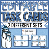 EDITABLE Winter Themed Task Cards With and Without QR Codes