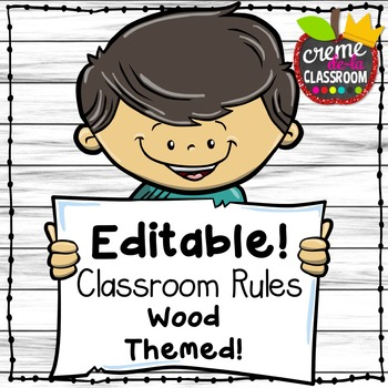EDITABLE Wood Themed Classroom Rule Posters