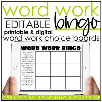 EDITABLE Word Work Bingo Card Template