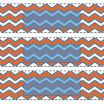 EDITABLE orange and blue chevron labels or name tags 3X8.5