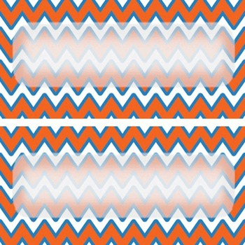 EDITABLE orange and blue chevron labels or name tags 4X11