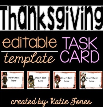 EDITABLE task card template : Thanksgiving Style