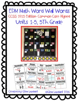 EDM Word Wall Words Units 1-5 CCSS 2015 Common Core Aligned