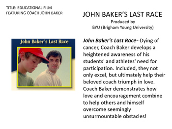 JOHN BAKER'S LAST RACE: Inspirational Life-Time Winner Film
