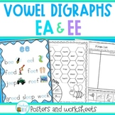 EE and EA Vowel Digraphs Worksheets and Posters