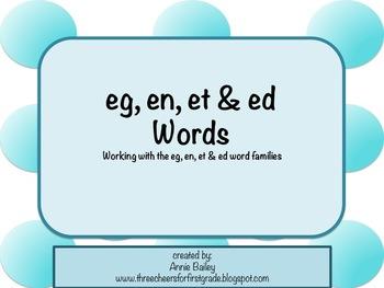 EG, EN, ED, & ET Word Study Sort and Activities