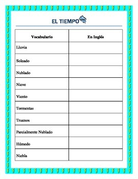El Tiempo- Weather in Spanish- Vocabulary list and interac