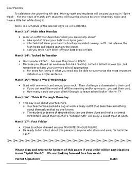 ELA Aligned Spirit Week - Parent Letter