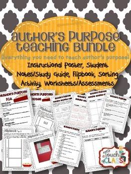 ELA Author's Purpose Teaching Bundle Activities, Flipbook,