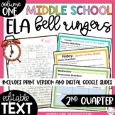 ELA Bell Ringers 7th Grade {2nd Quarter} Middle School Bel