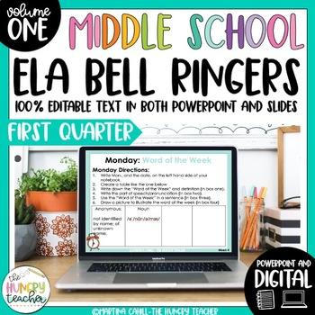 ELA Bell Ringers for 7th Grade (1st Quarter) Middle School