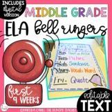 ELA Bell Ringers for Middle School and Upper Elementary (1
