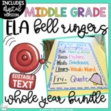 ELA Bell Ringers for Middle School and Upper Elementary {E