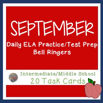 ELA CC Bell Ringer Back To School Themed Task Cards - Uppe