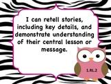 ELA Common Core I Can Statements Owls and Zebra print