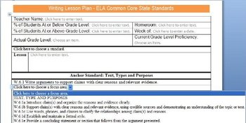 Common Core Lesson Plan Templates ELA 6-8 w/Standards in D