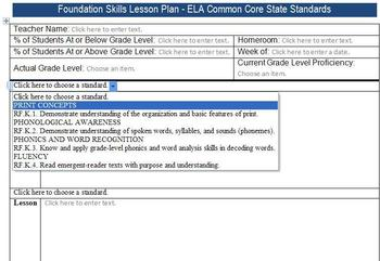Common Core Lesson Plan Template w/Standards Drop Downs -