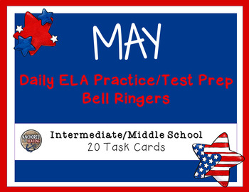 Middle School Bell Ringer - ELA Common Core May-Themed Task Cards
