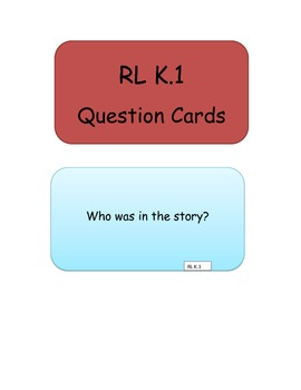 ELA Common Core Question Cards for Kindergarten