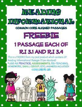 ELA Common Core Reading INFORMATIONAL Passages FREEBIE