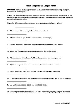 ELA Common Core Sentence Type Review Sheet