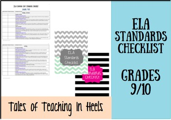 ELA Common Core Standards Checklist with Cover Pages Grades 9-10