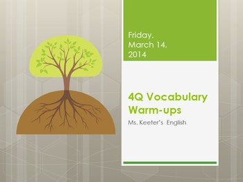 ELA Common Core Vocabulary Warm-ups Grade 6th, 7th & 8th