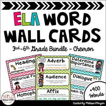 ELA Word Wall 3rd-6th BUNDLE - Chevron