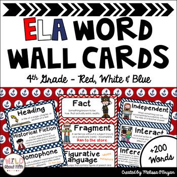 ELA Word Wall Vocabulary Cards - 4th Grade - Nautical