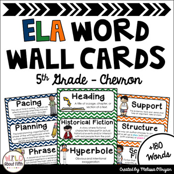 ELA Word Wall Vocabulary Cards - 5th Grade - Chevron