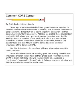 ELA Common Core short newsletter for Elementary School fam