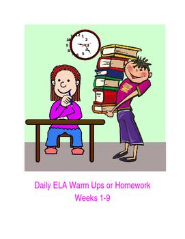 ELA Daily Warm Up or Homework Packet (Weeks 1-9)