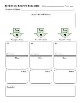 ELA Expository Essay Graphic Organizer (grades 6-12)
