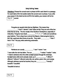 FSA ELA Test Daily Grammar Editing Tasks Practice Days 41-45