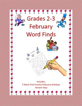 ELA Fun in February  Grades 2-3 Word Finds for 3 Holidays
