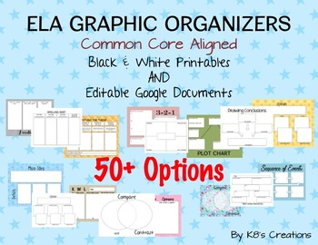 ELA Graphic Organizers: Printables and Editable Google Docs