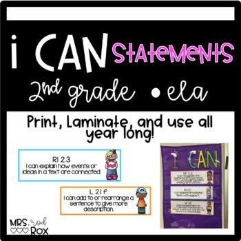 ELA I CAN statements COMMON CORE Second Grade