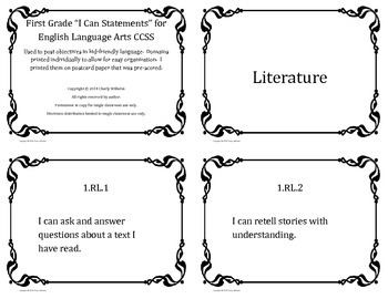 ELA I Can Statements